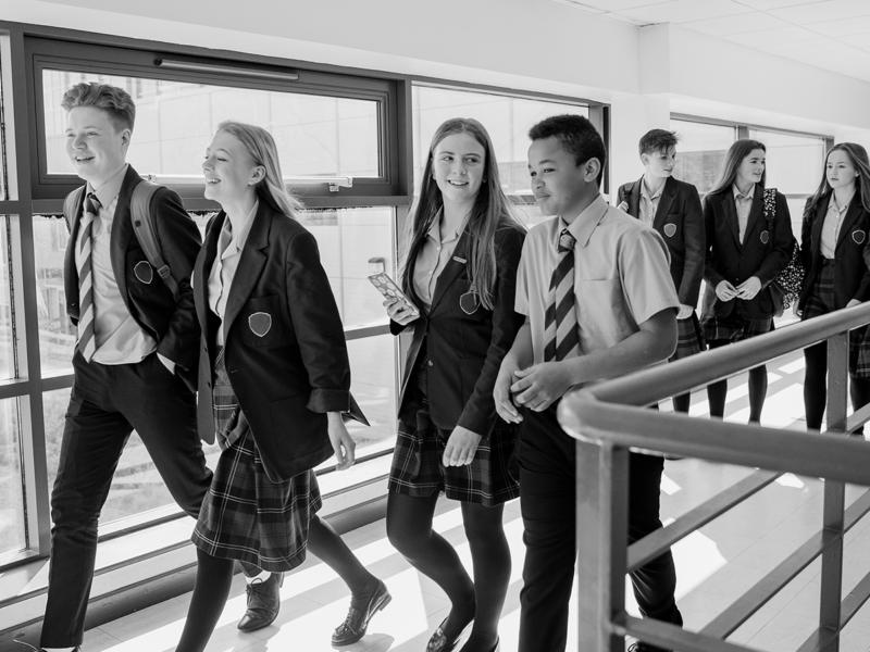 Students walking in school
