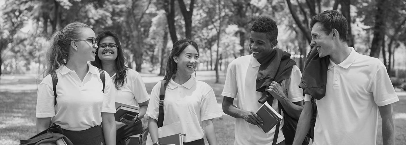 School students walking outside