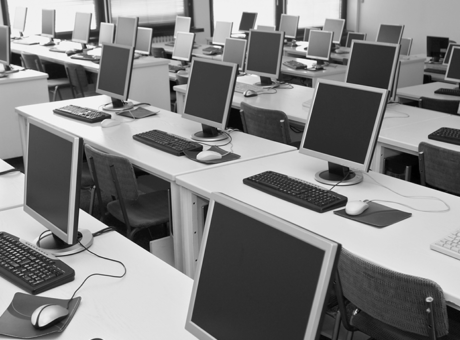Computer classroom in a school