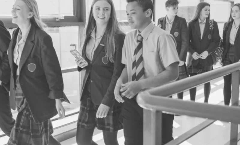 School Kids walking in school and talking