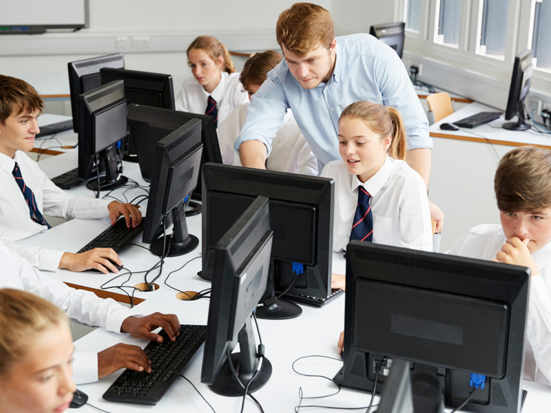 Students in a computer classroom at school
